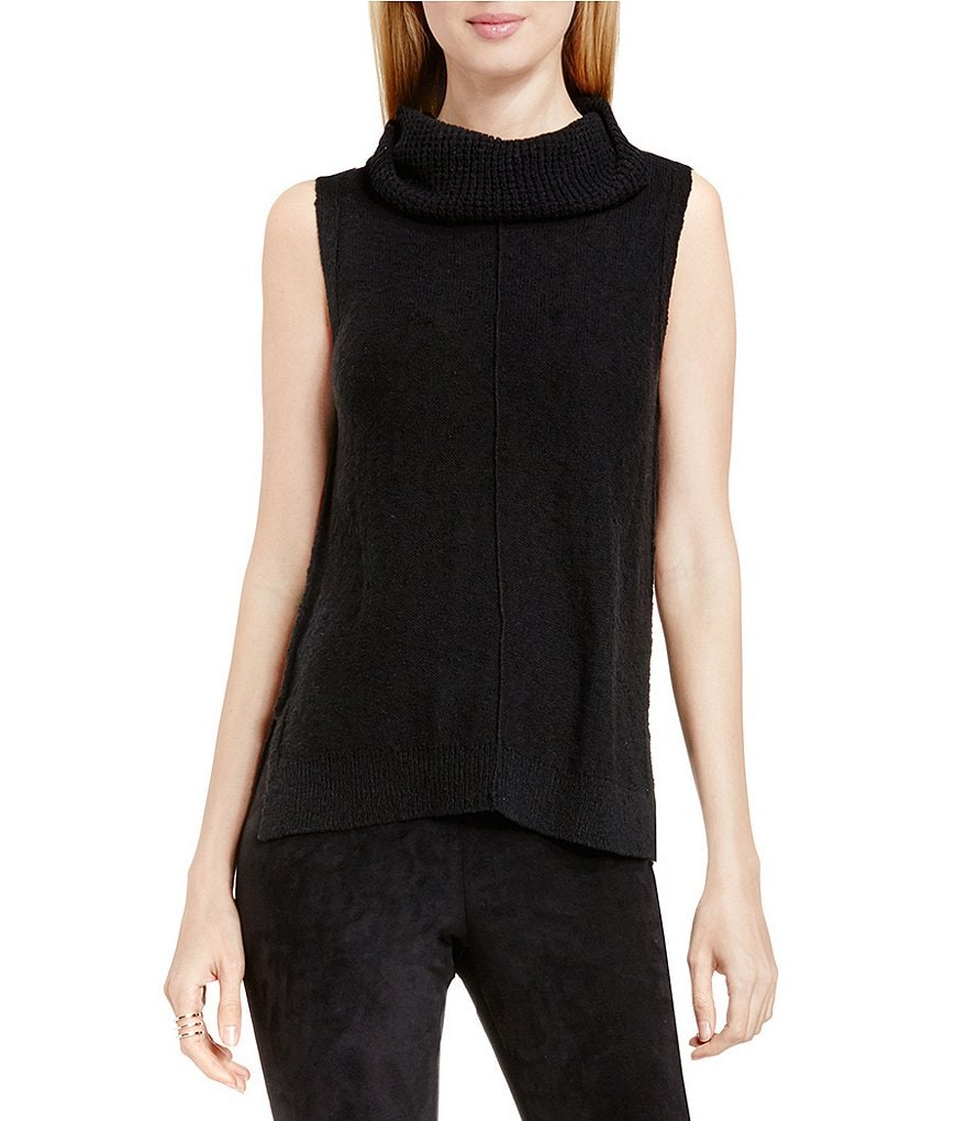 Two By Vince Camuto Exposed Seam Cowlneck Sleeveless Sweater