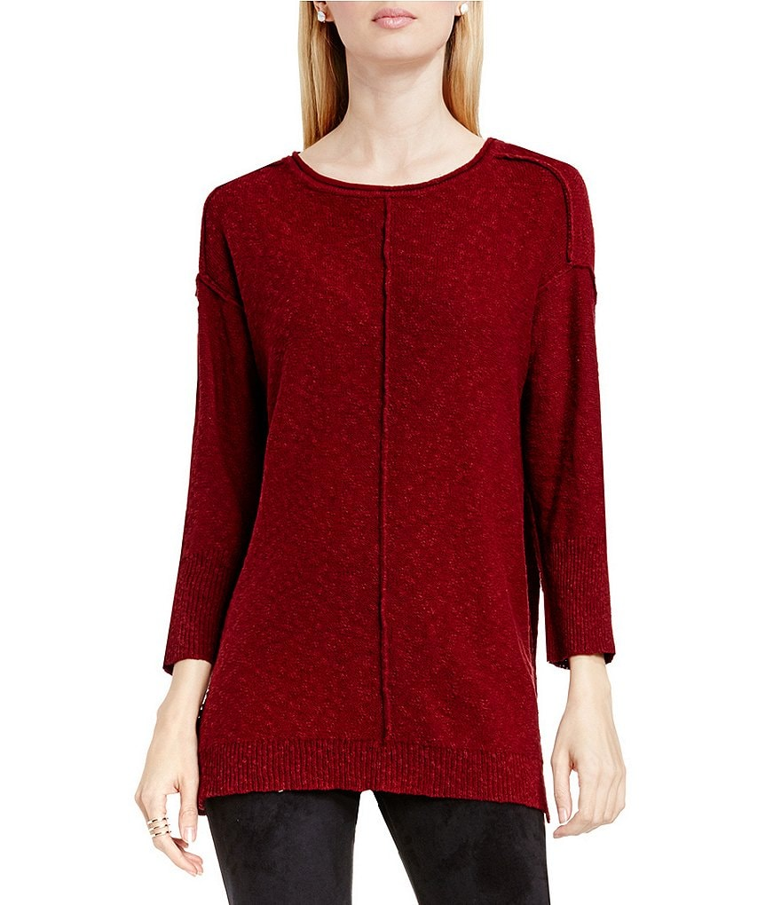 Two By Vince Camuto Exposed Seam Round Neck Long Sleeve Sweater