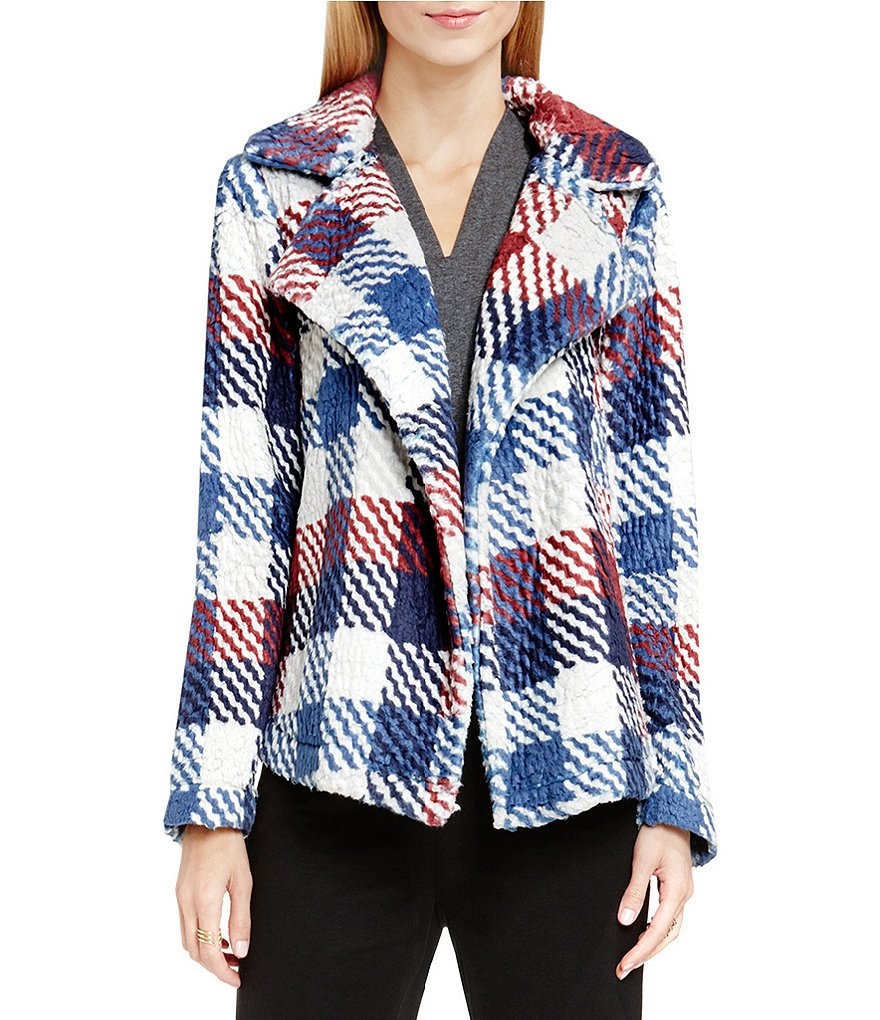 Two By Vince Camuto Plaid Notch Collar Coat