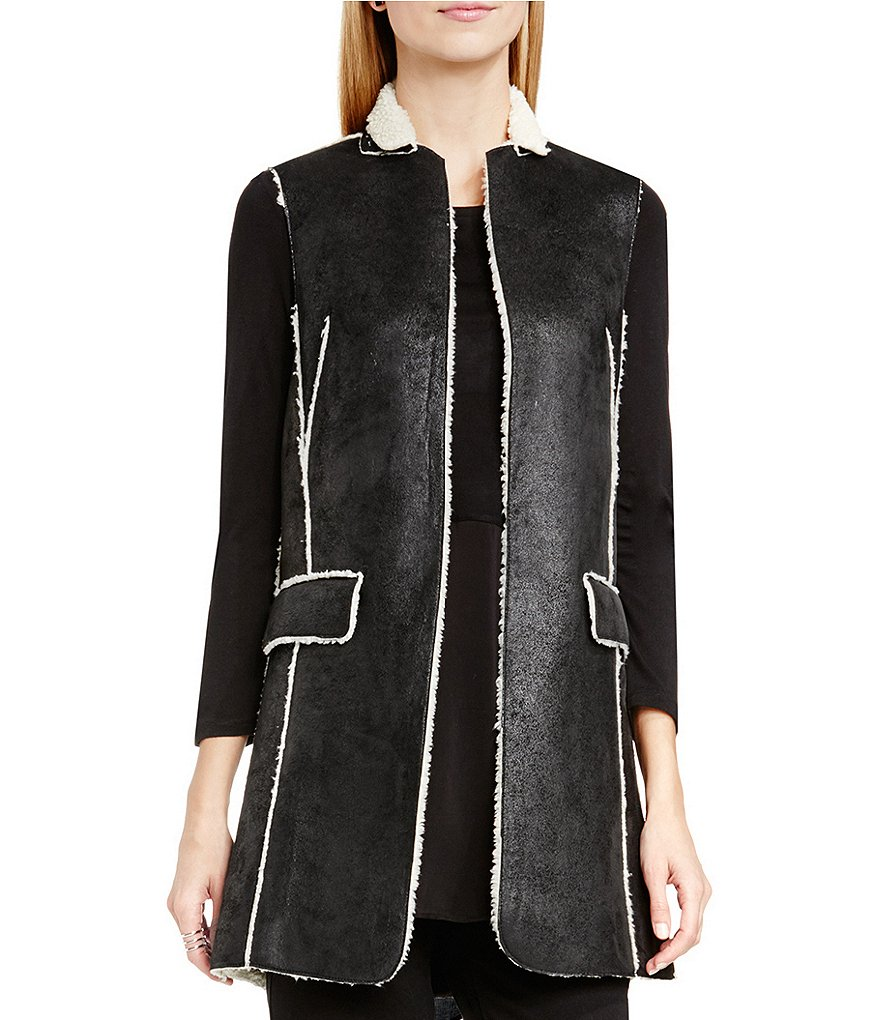 Two By Vince Camuto Shearling-Back Exposed Seam Vest