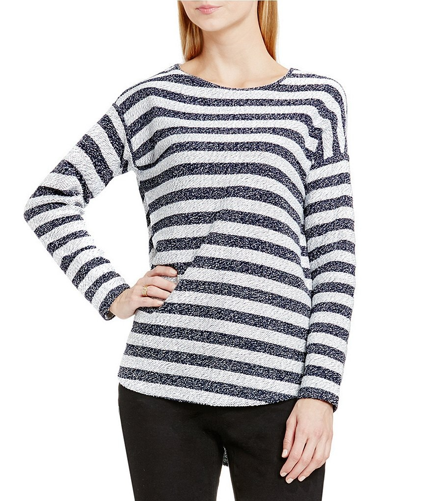 Two By Vince Camuto Round Neck Striped Top