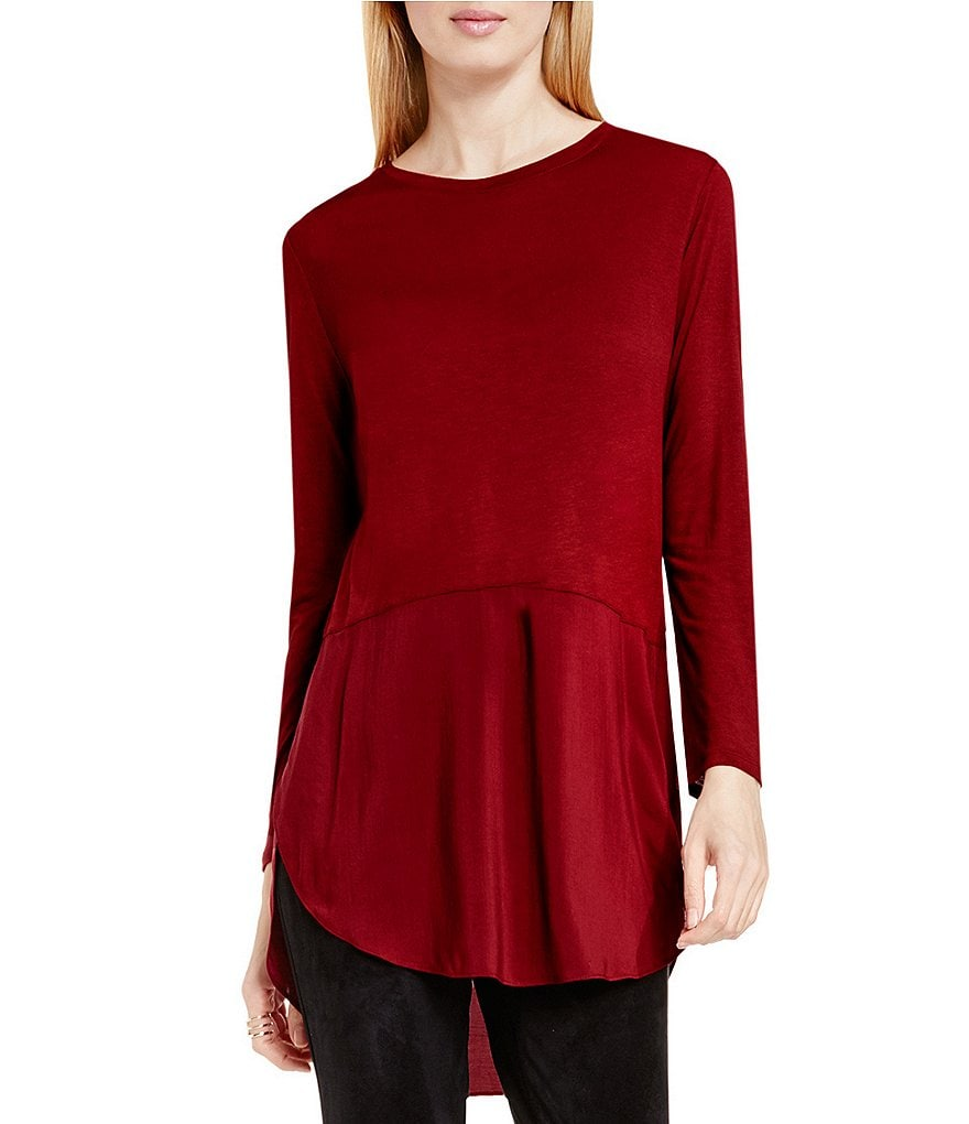 Two By Vince Camuto Mix Media Crewneck Tunic