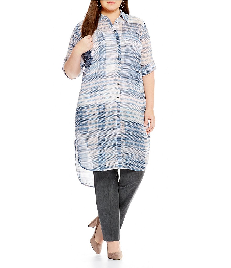 Vince Camuto Plus Breezy Textures Button-Down Tunic