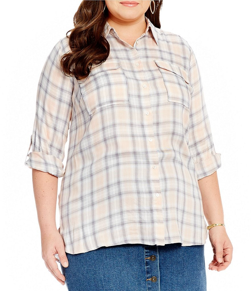 Vince Camuto Plus Checked Twill Utility Shirt