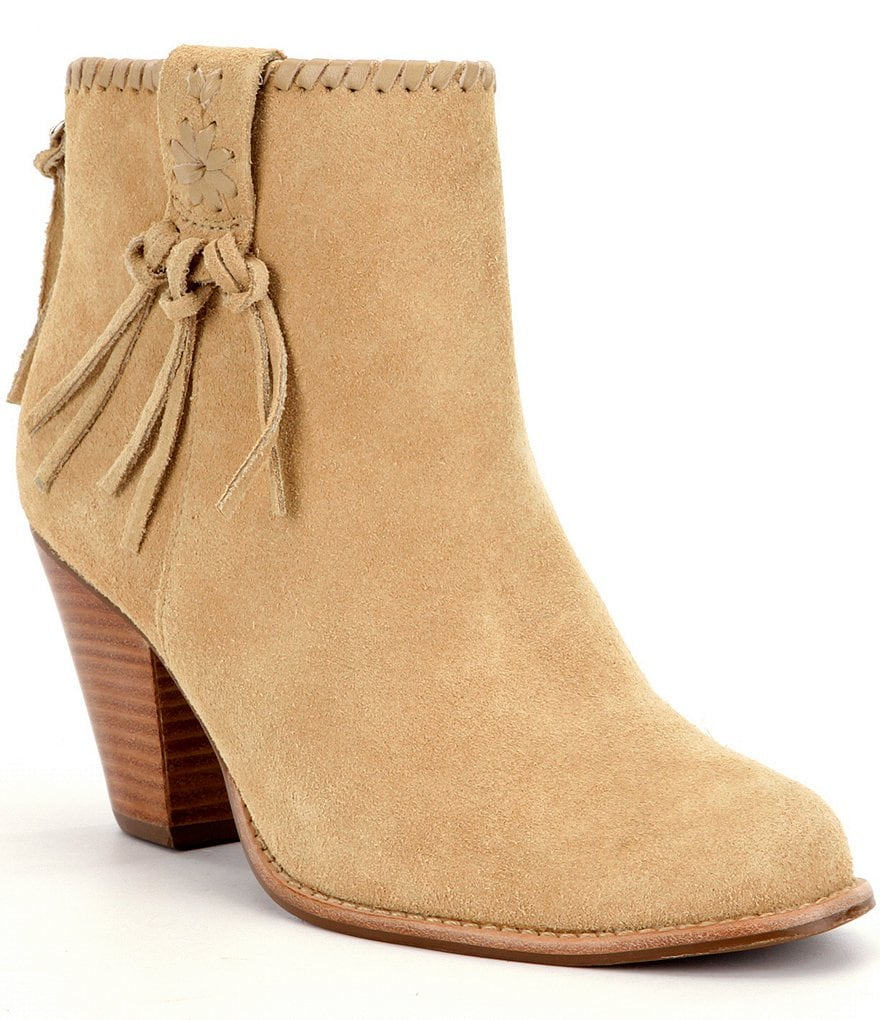 Jack Rogers Greer Suede Whipstitch Lacing Tassel Detail Booties