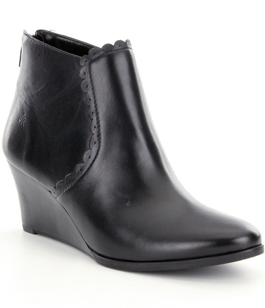 Jack Rogers Emery Leather Scalloped Wedge Booties