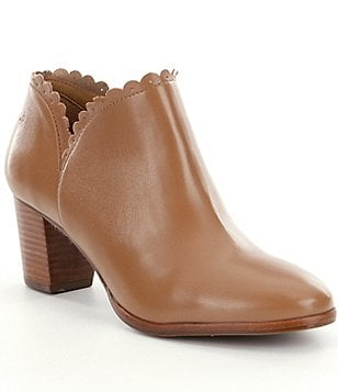 Jack Rogers Marianne Leather Scalloped Topline Booties
