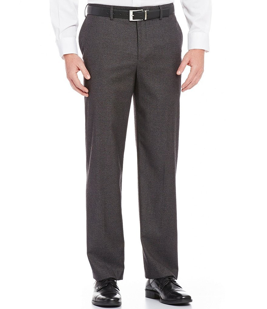 Hart Schaffner Marx Straight-Fit Flat-Front Diamond Textured Pants