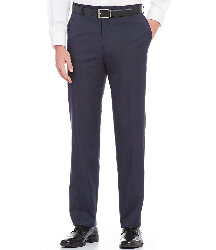 Hart Schaffner Marx Straight-Fit Flat-Front Textured Pants