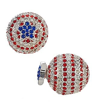 Anne Klein Patriotic Crystal Front/Back Earrings