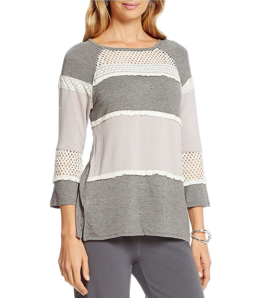Multiples Scoop Neck 3/4 Raglan Sleeve French Terry Top