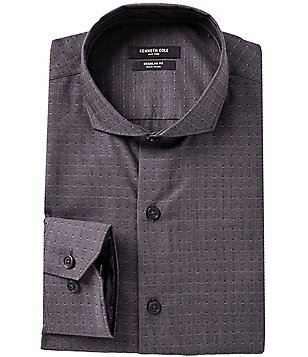 Kenneth Cole New York Non-Iron Fitted Classic-Fit Cutaway-Collar Dobby Pattern Dress Shirt