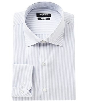 Kenneth Cole New York Non-Iron Fitted Classic-Fit Spread-Collar Striped Dress Shirt