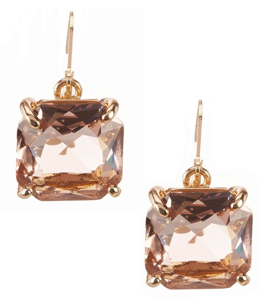 Belle Badgley Mischka Square Stone Drop Earrings