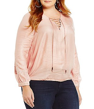 Jessica Simpson Plus Lise Lace-Up Blouse