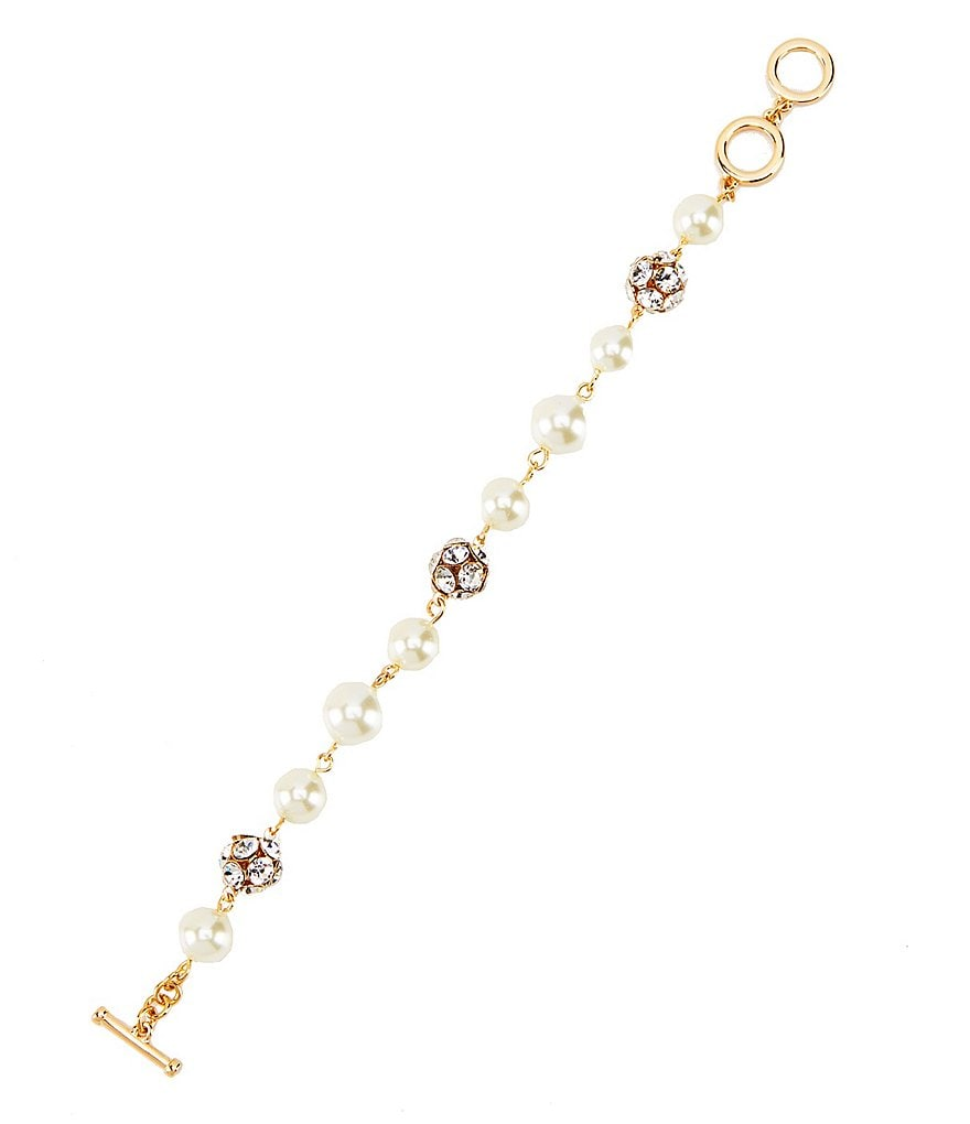 Anna & Ava Pearl and Crystal Fireball Line Bracelet