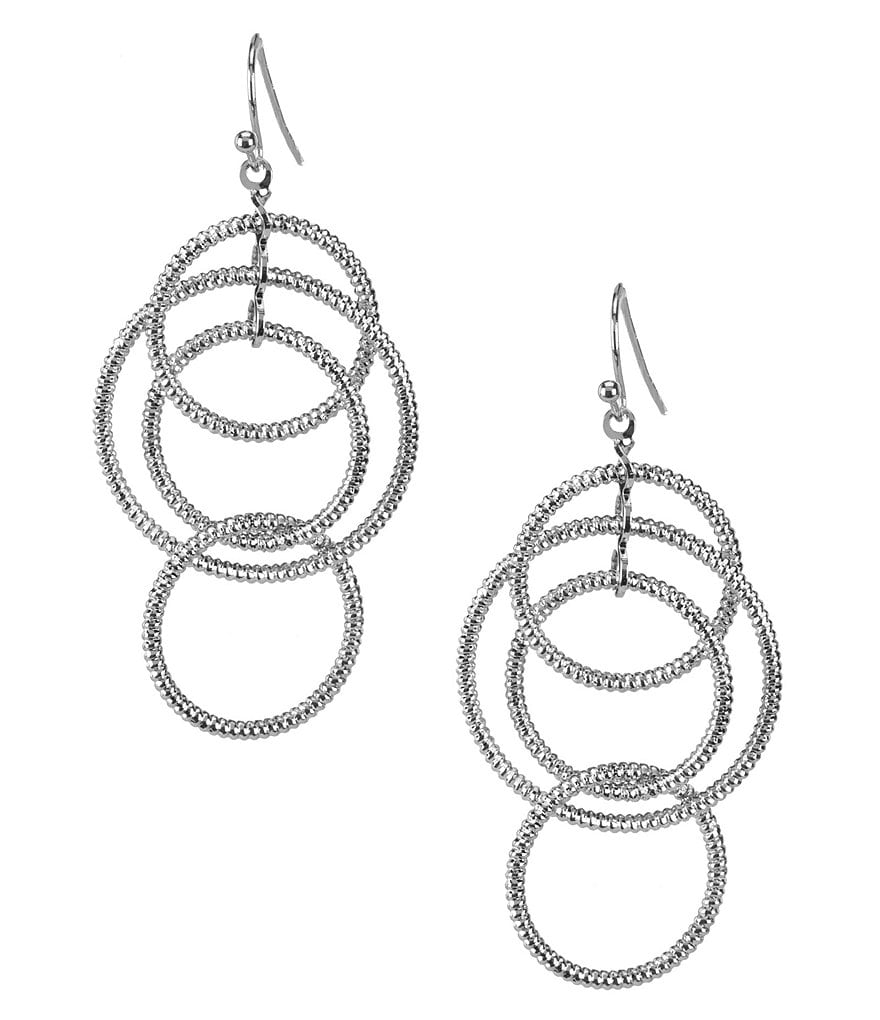 Natasha Accessories Interlocking Circle Drop Statement Earrings