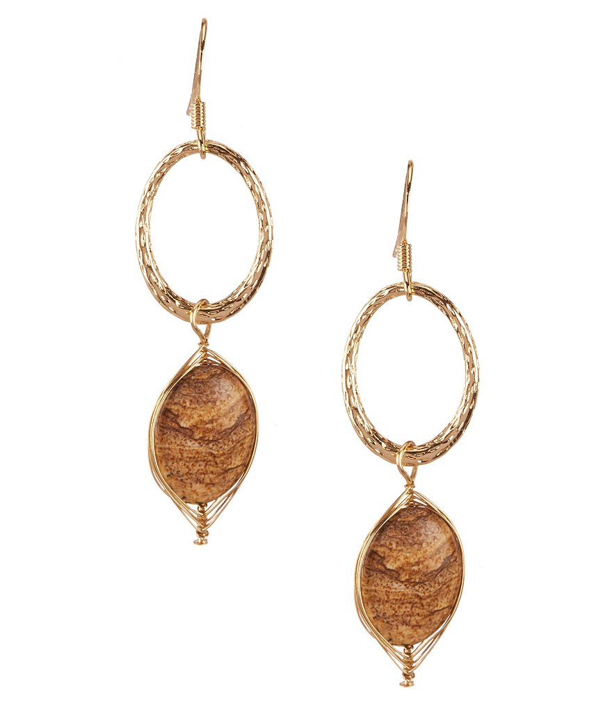 Natasha Accessories Wire-Wrapped Stone Drop Earrings