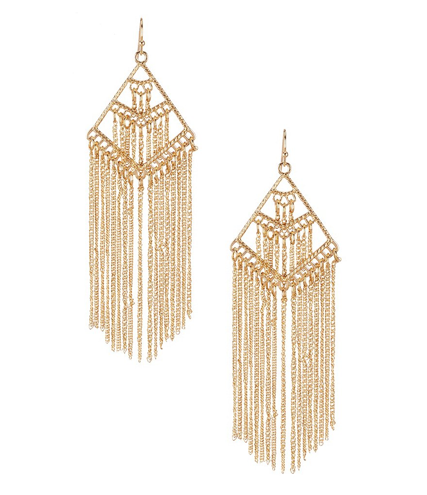 Natasha Accessories Triangle Fringe Chandelier Earrings