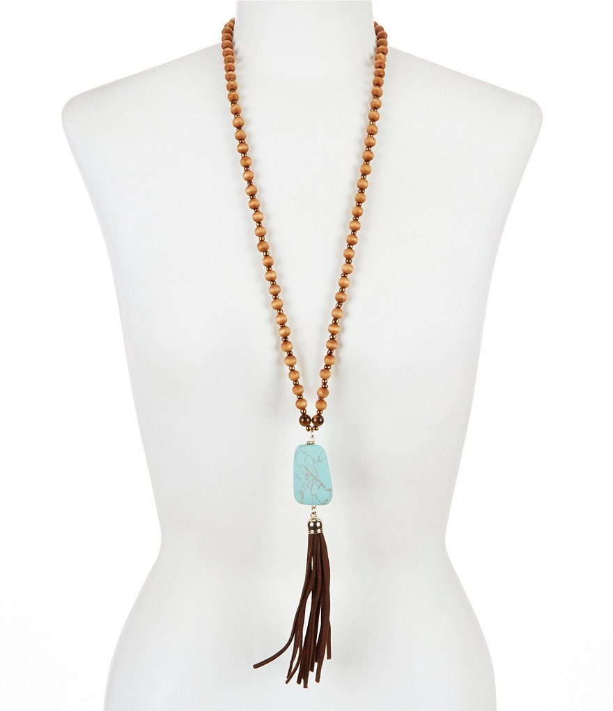 Natasha Accessories Turquoise Tassel Necklace