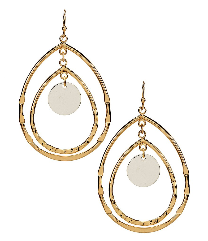 Anna & Ava Kristen Hammered Two-Tone Double Drop Earrings