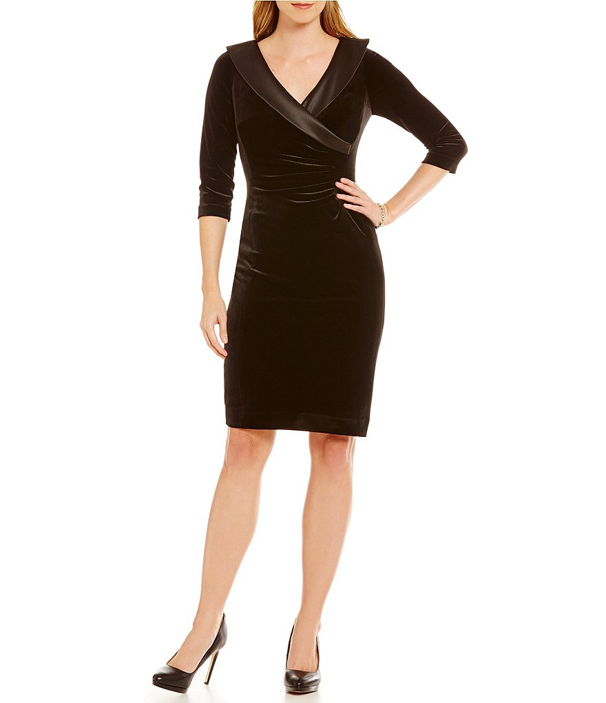 Tahari ASL Satin Collar Velvet Sheath Dress