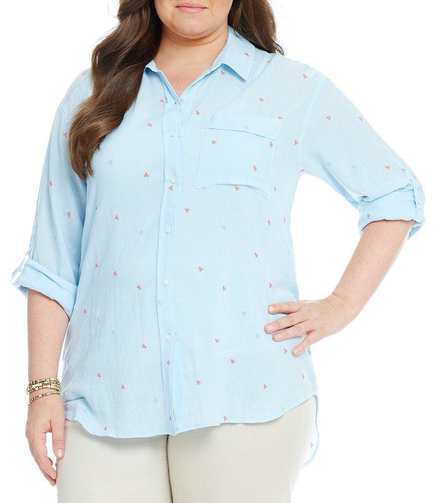 Gibson & Latimer Plus Embroidered Textured Button-Up Blouse