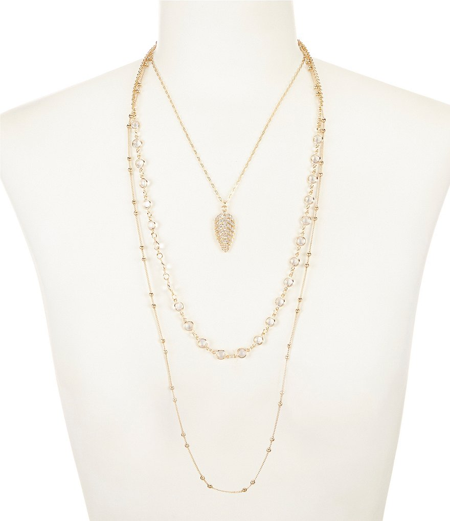 Anna & Ava Monica Pavé Leaf Multi-Strand Necklace