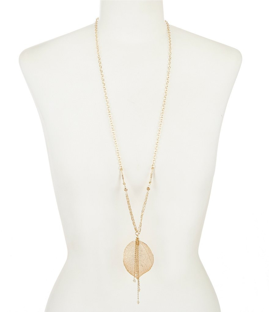 Anna & Ava Gunther Crystal Leaf Pendant Necklace