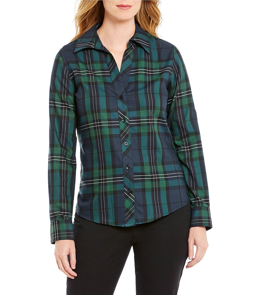 Investments Gold Label Long Sleeve Button-Front Plaid Shirt