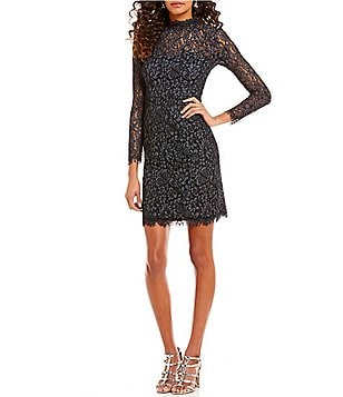 Betsey Johnson Scalloped Mockneck Lace Sheath Dress