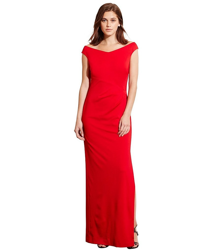Lauren Ralph Lauren Off-the-Shoulder Stretch Jersey Gown