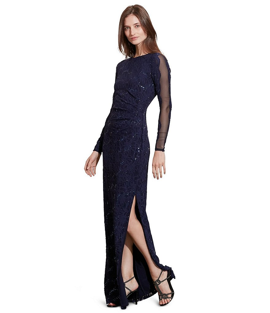 Lauren Ralph Lauren Long Sleeve Sequined Lace Column Gown