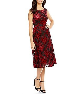Betsey Johnson Midi Velvet Burnout Dress