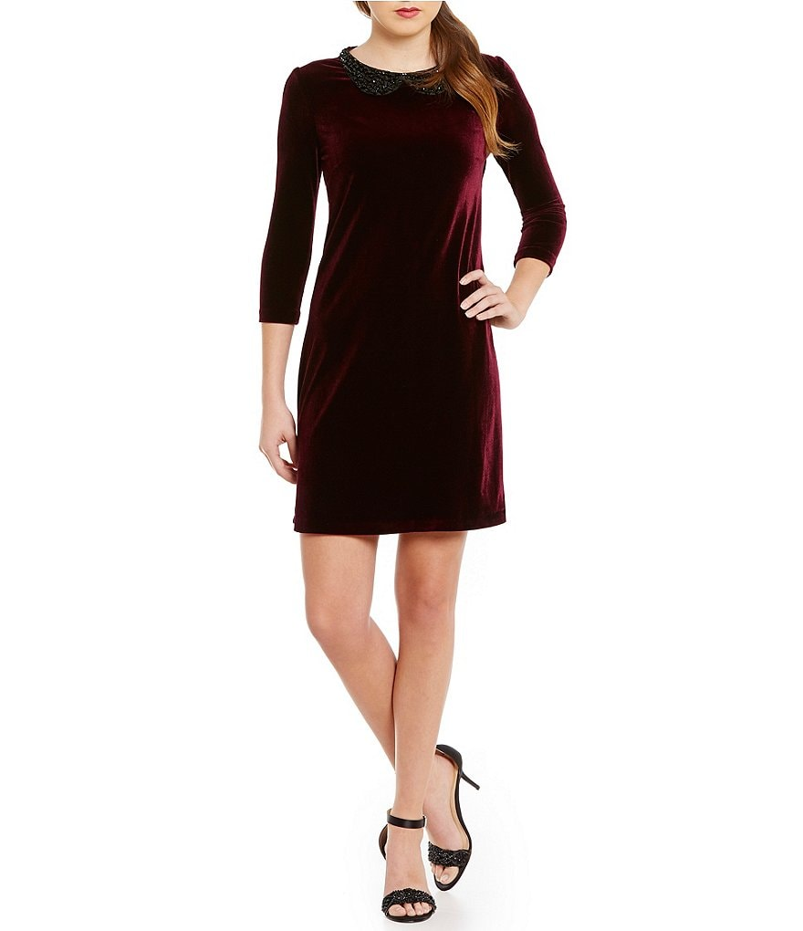 Betsey Johnson Beaded Peter Pan Collar Velvet Shift Dress