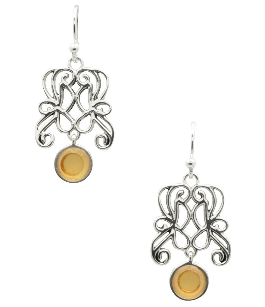 Calvary Sterling Silver and Citrine Drop Earrings