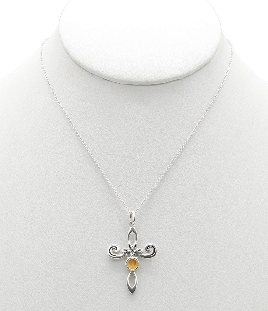 Calvary Sterling Silver and Citrine Cross Pendant Necklace