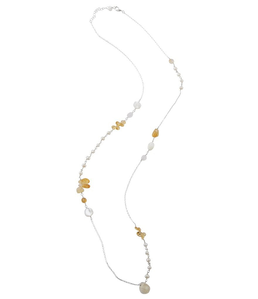 Calvary Sterlng Silver, Citrine & Pearl Long Station Necklace