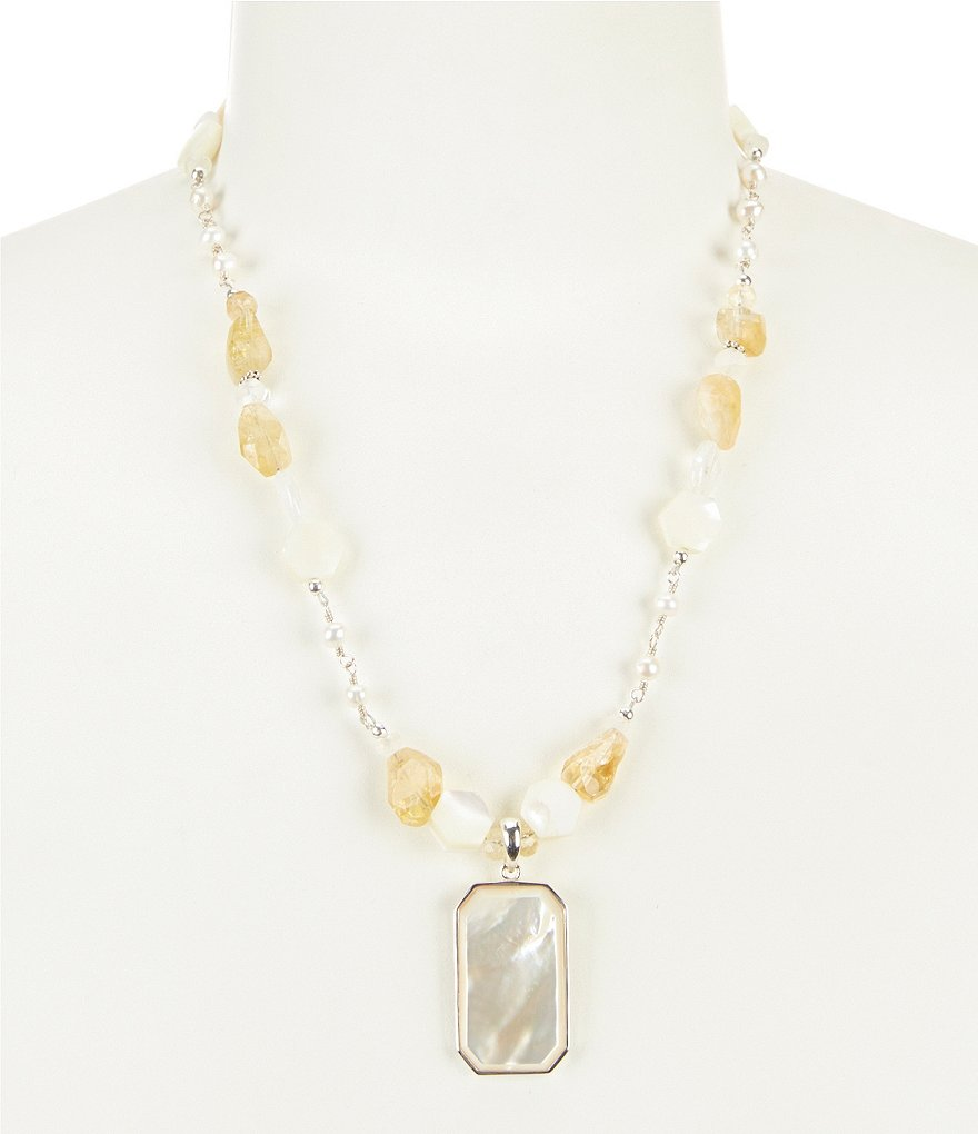 Calvary Sterling Silver and Pearl Multi Stone Pendant Necklace