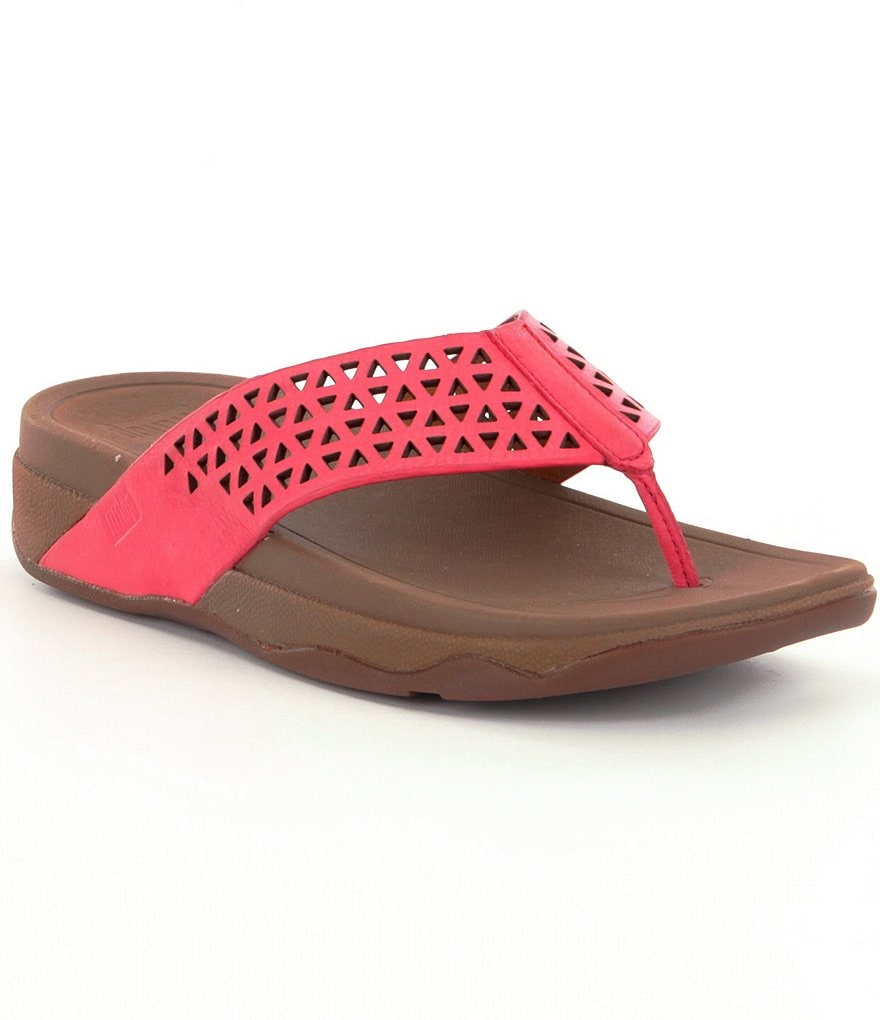 FitFlop Surfa Leather Lattice Thong Style Slip On Sandals