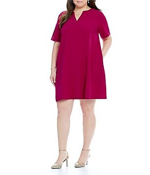 Adrianna Papell Plus Split-Neck Shift Dress