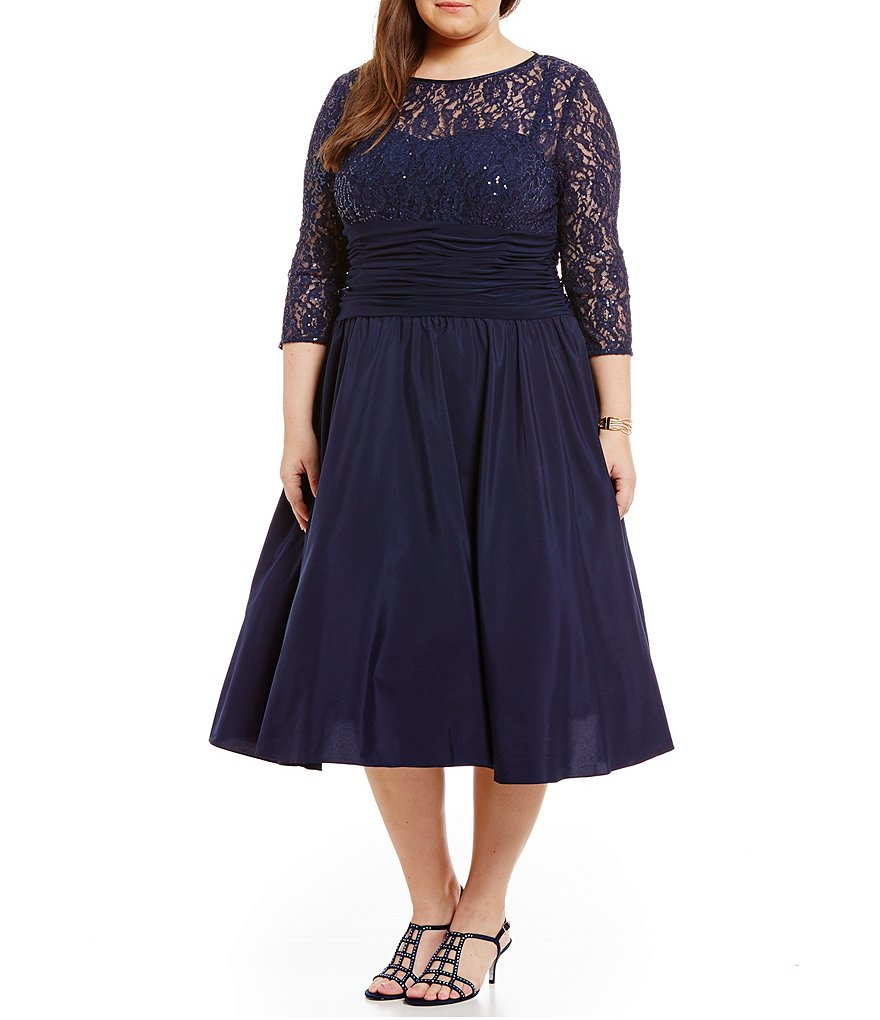 Jessica Howard Plus Illusion Lace Party Dress