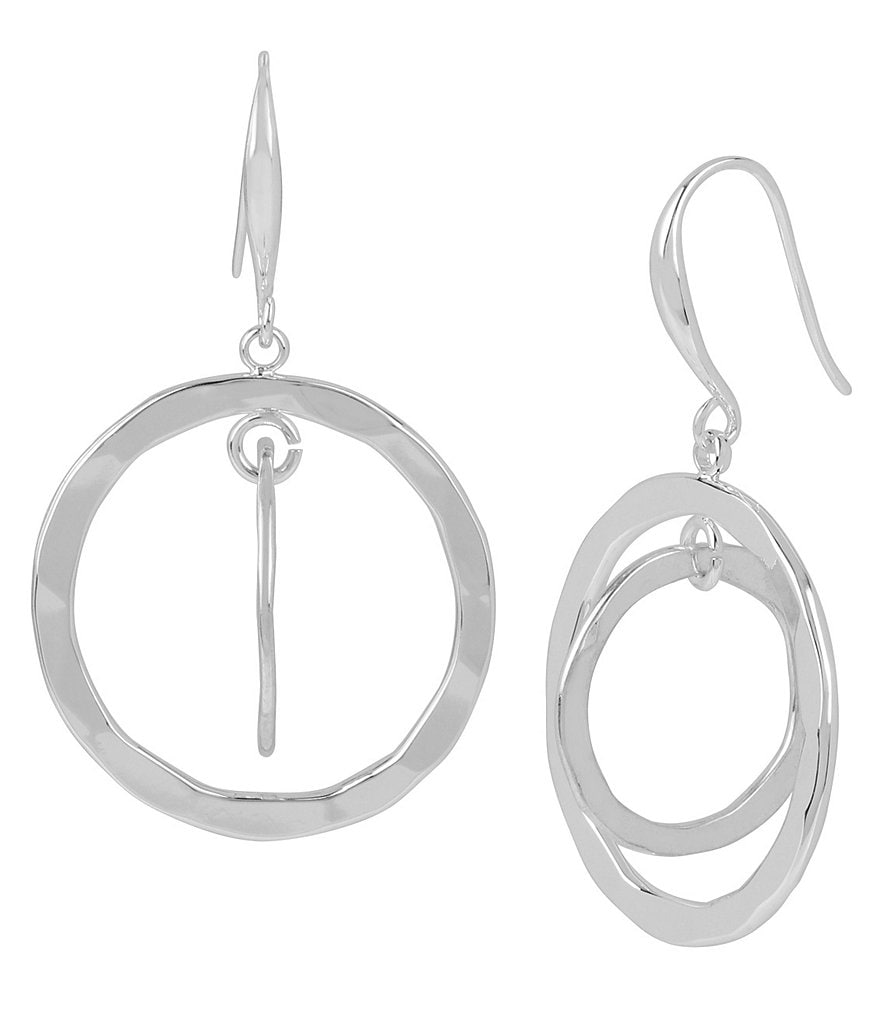 Robert Lee Morris Soho Hammered Circle Double-Drop Earrings