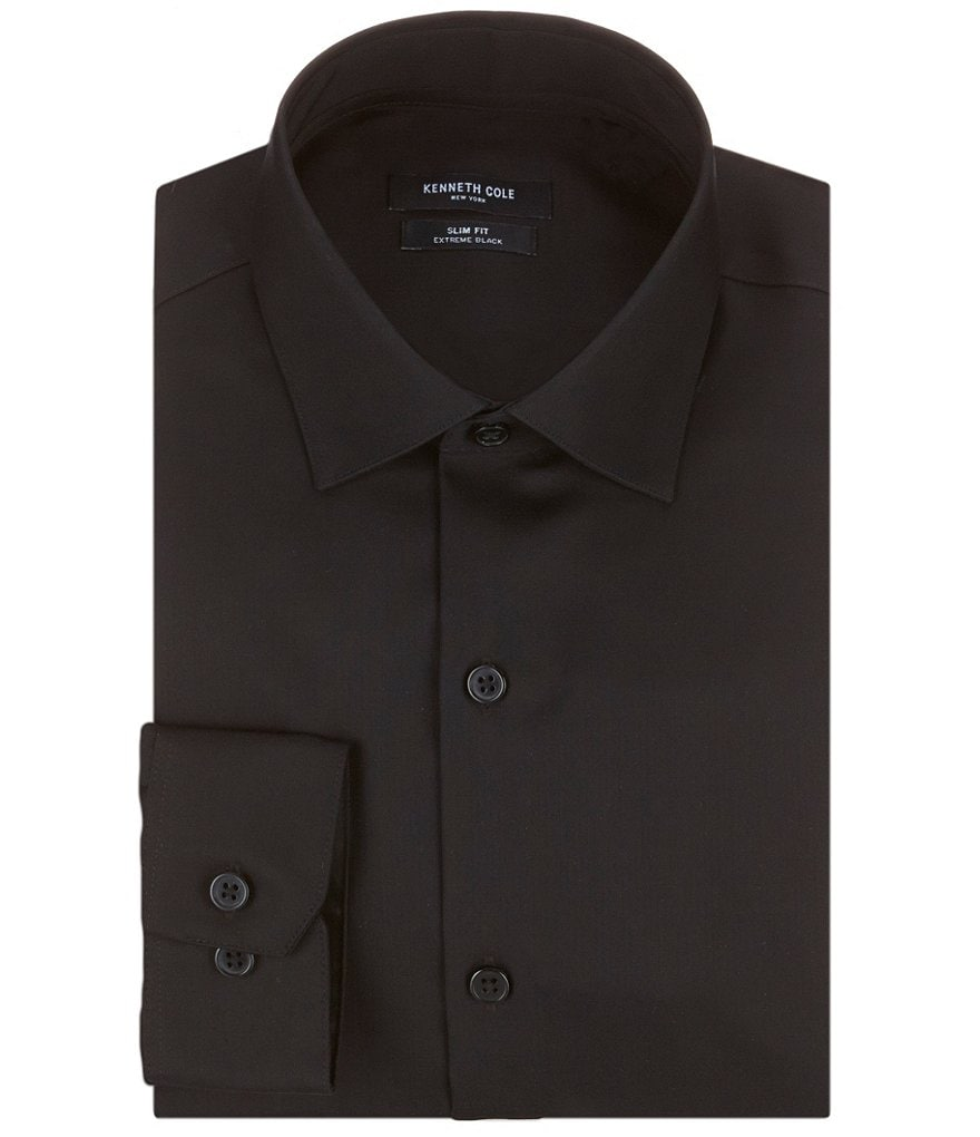 Kenneth Cole New York Non-Iron Slim-Fit Spread Collar Solid Dress Shirt