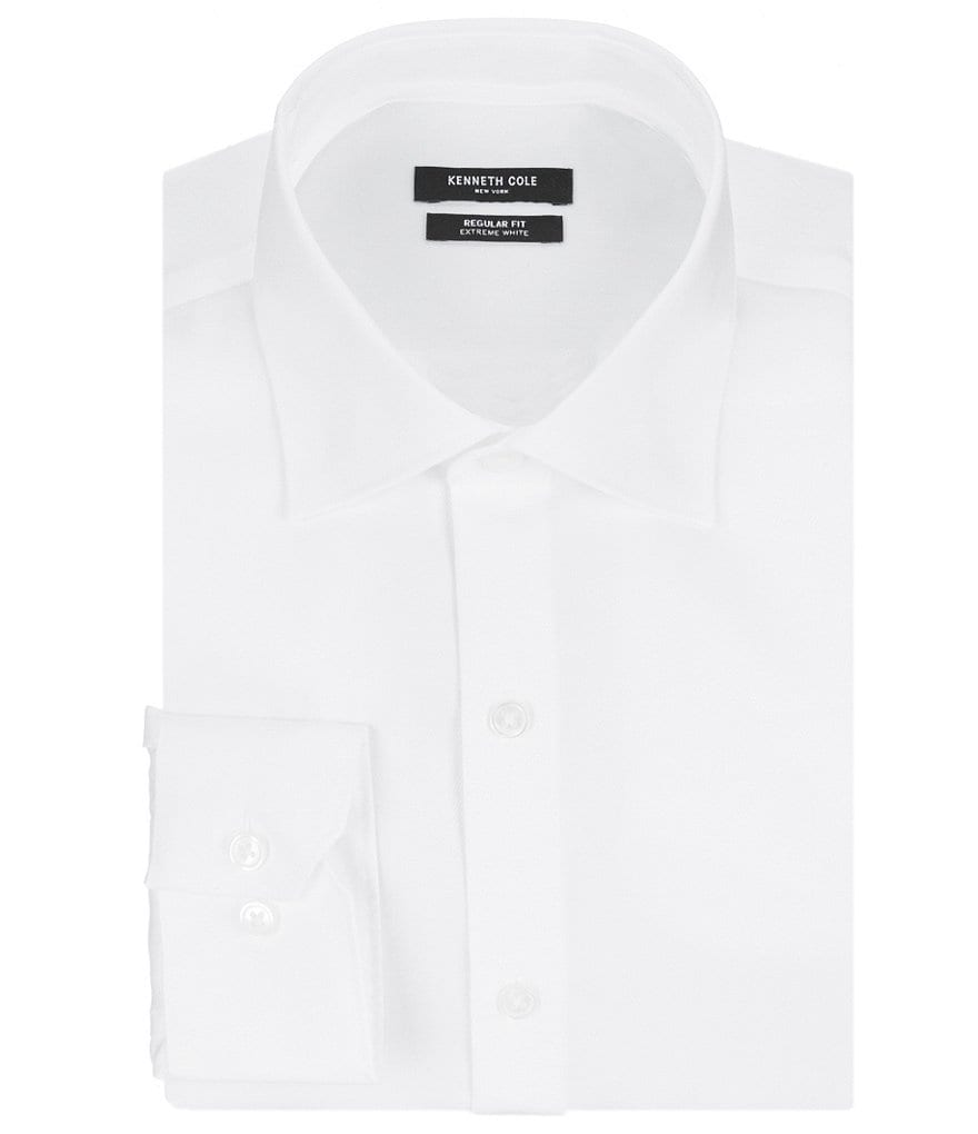 Kenneth Cole New York Non-Iron Fitted Classic-Fit Spread Collar Solid Dress Shirt