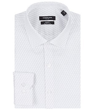 Kenneth Cole New York Non-Iron Slim-Fit Spread Collar Repeating Print Dress Shirt