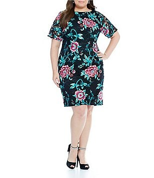 Eliza J Plus Embroidered Floral Lace Sheath Dress