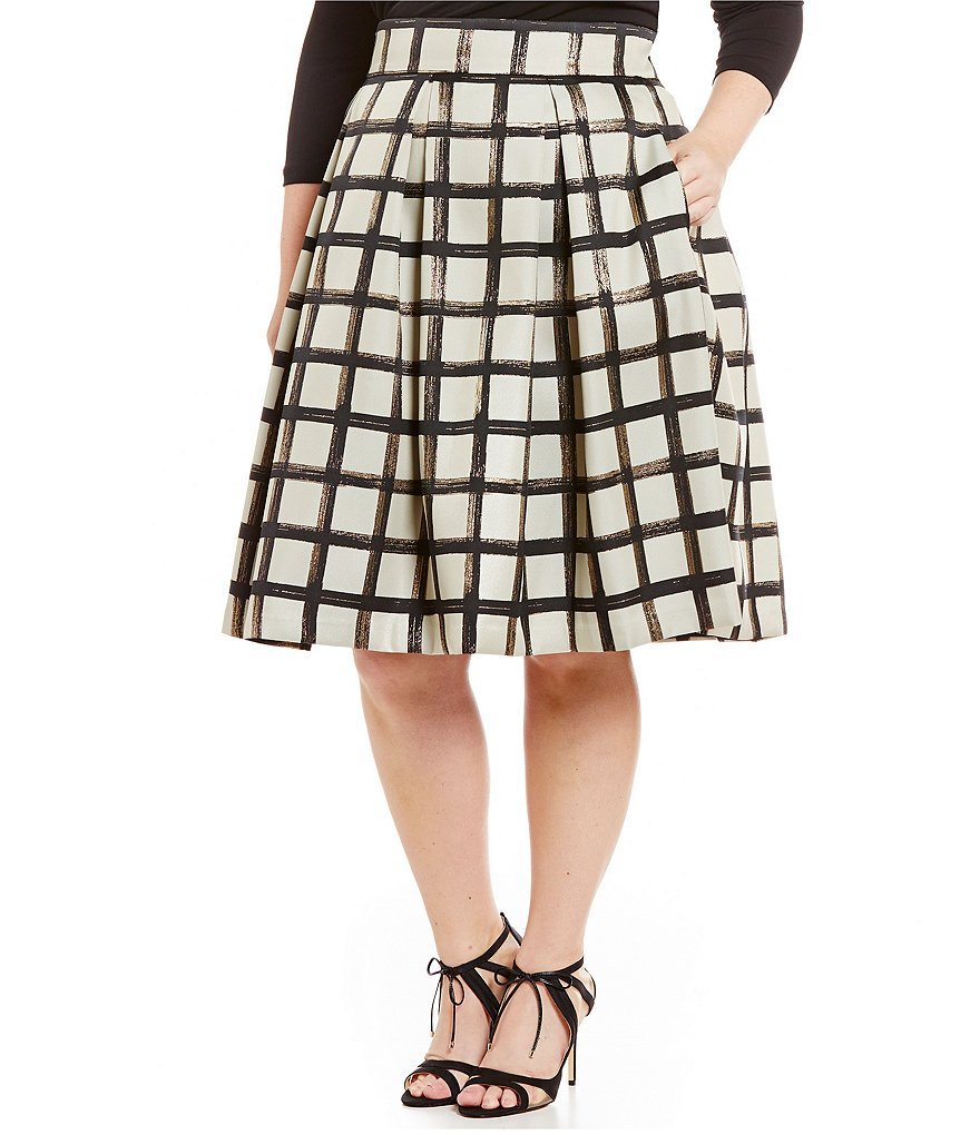 Eliza J Plus Plaid Midi Skirt