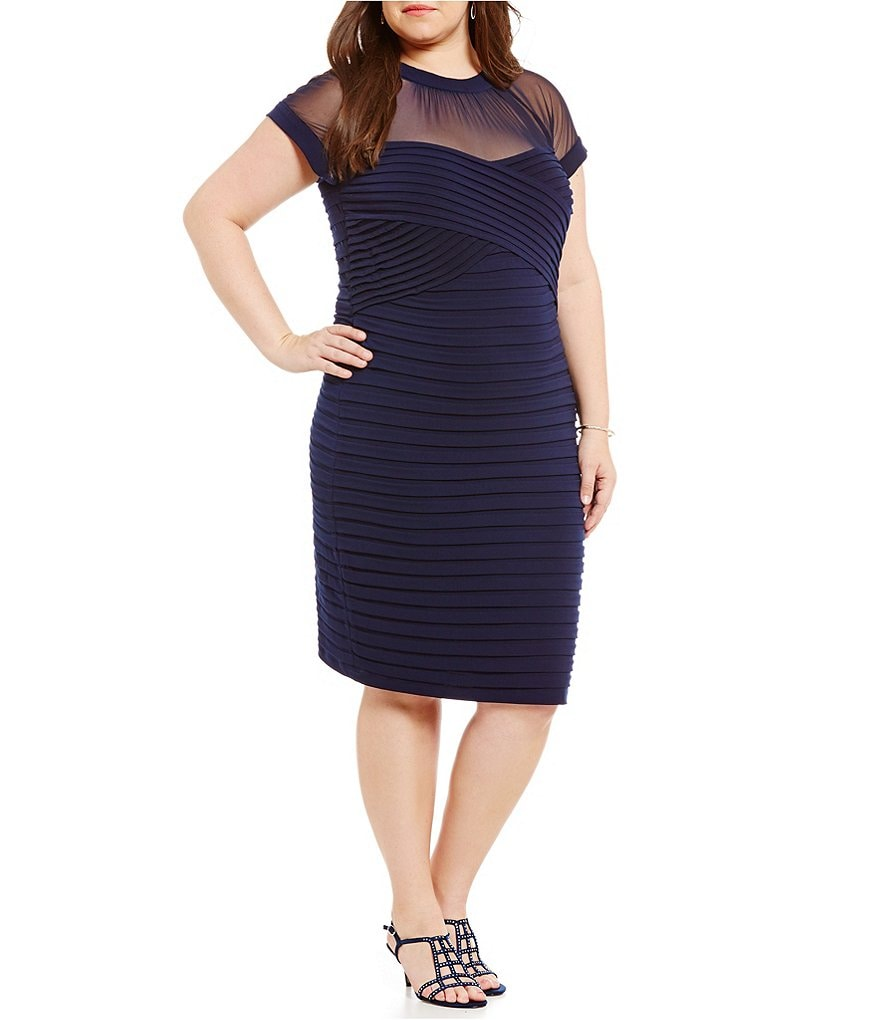 London Times Plus Illusion Neck Banded Sheath Dress