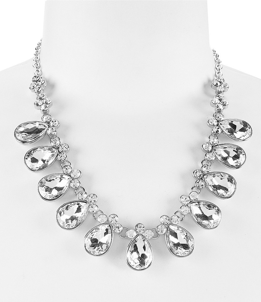 Gemma Layne Faceted Teardrop Crystal Frontal Necklace